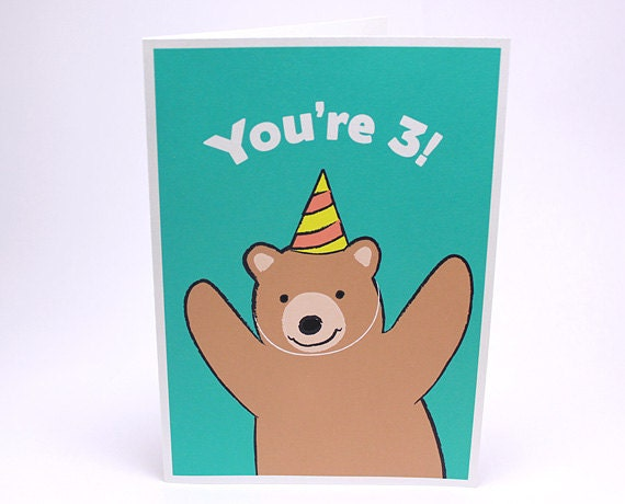 3rd Birthday Card - Kids Third Birthday Card - Bear - GrizzlyBearGreetings