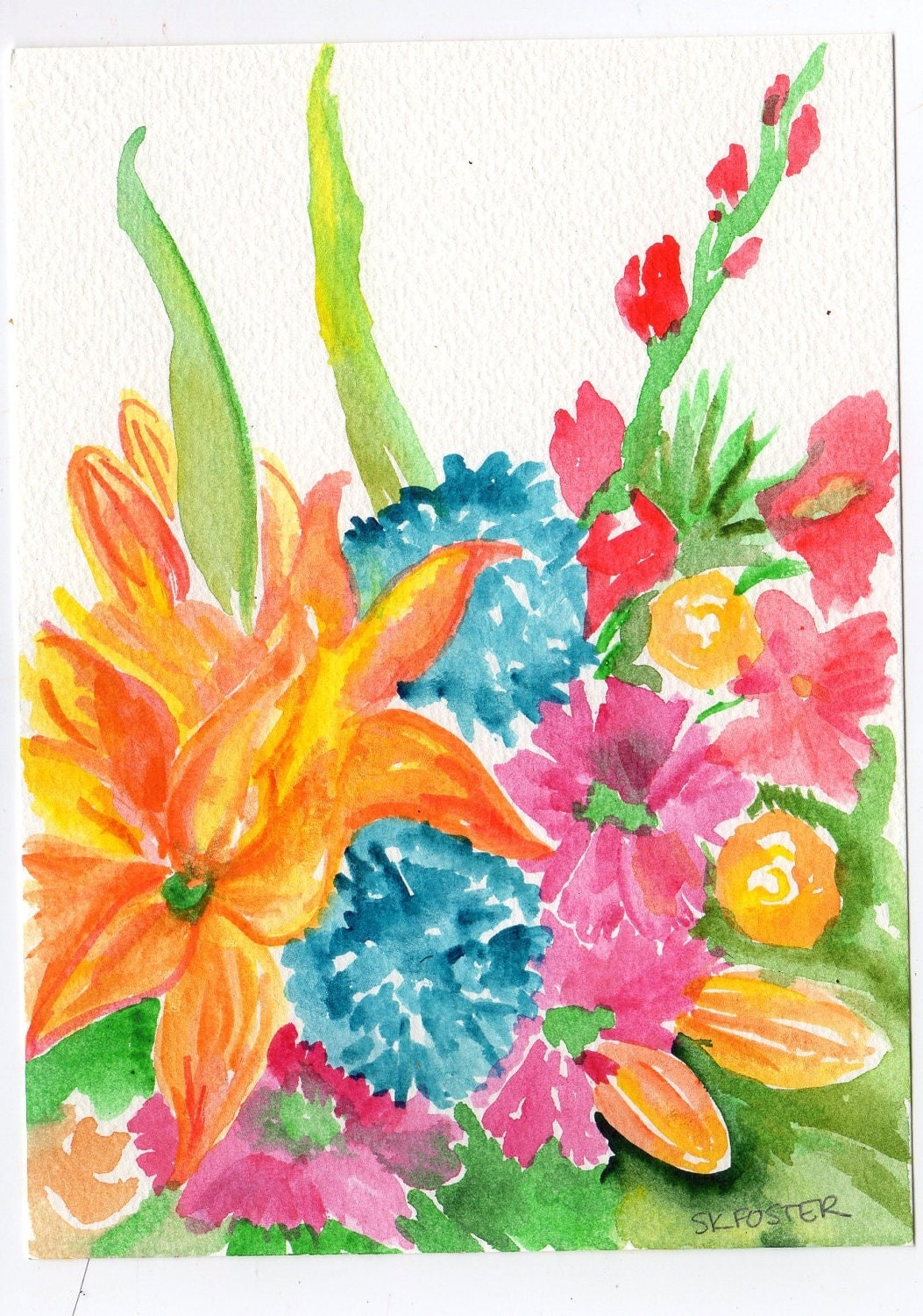 RESERVED Colorful Tropical Flowers  watercolor painting, Original ART