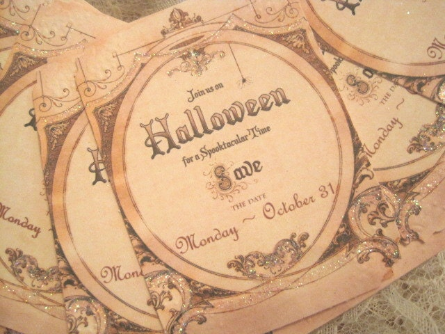 Save the Date HALLOWEEN Tags - Cards - Invitations - Party Invite - October 31st - Embossed - Glass Glitter - Buy Three Get One Free