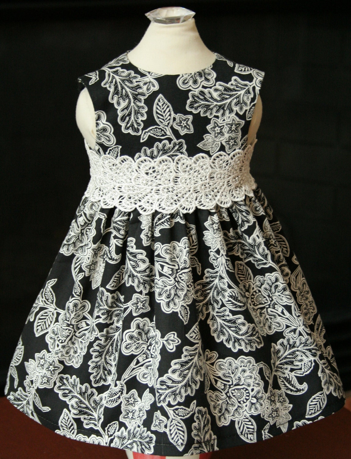 "Classy Black and White Sun Dress with Lace Belt for 18"" American Girl Dolls - Custom Handmade"