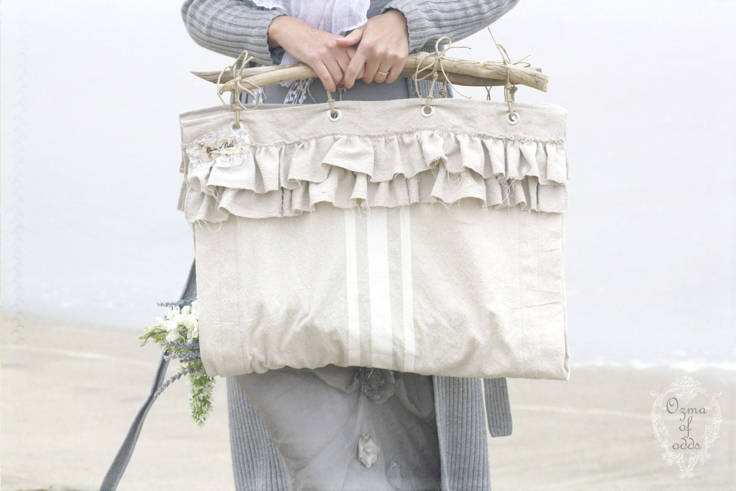 sea flower gatherer - a faux grain sack cloth whimsy tote - ozmaofodds