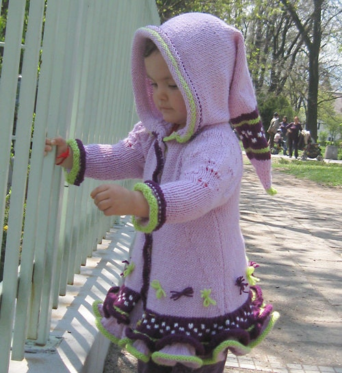 Romantic Elf Topcoat in Soft Violet for Girls 2,5 - 3,5 years