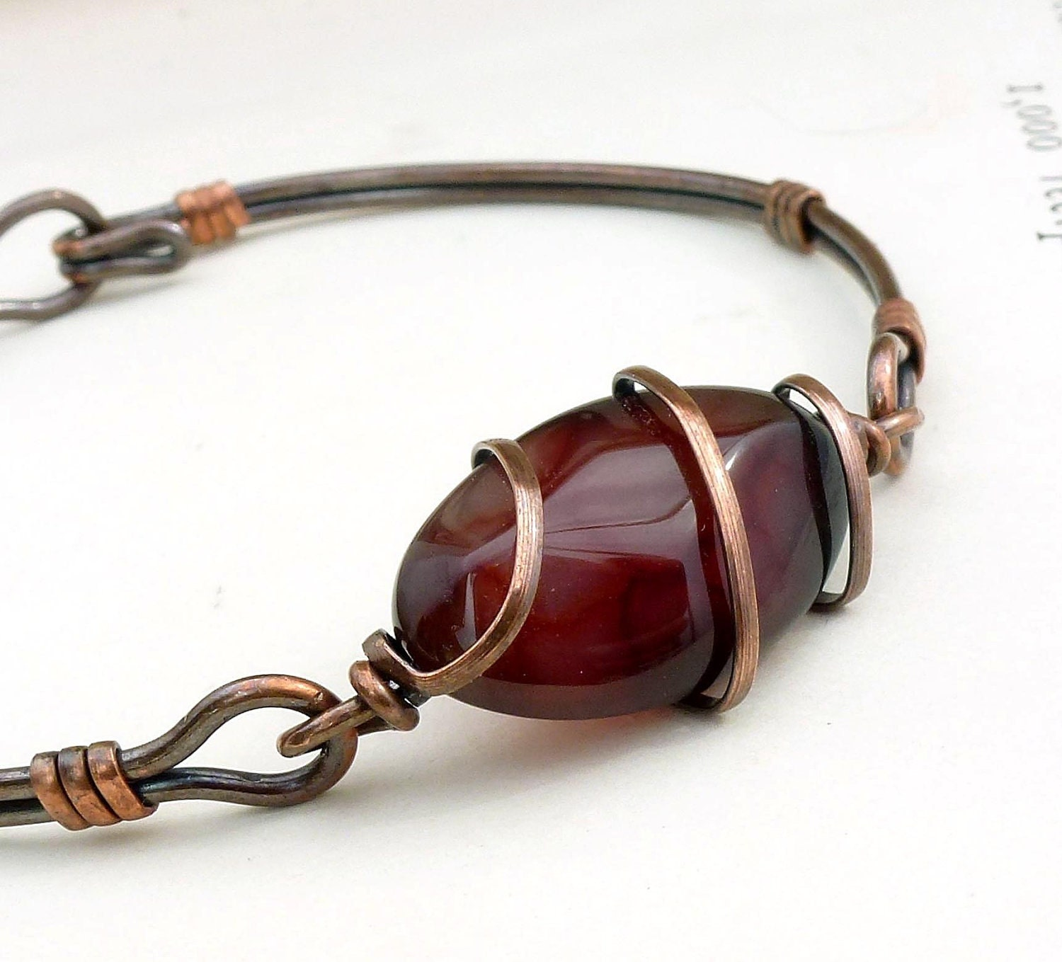 Autumn chocolate brown bracelet, copper bangle, wire wrapped jewelry