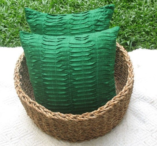 forest green silk cushion cover 16 inch