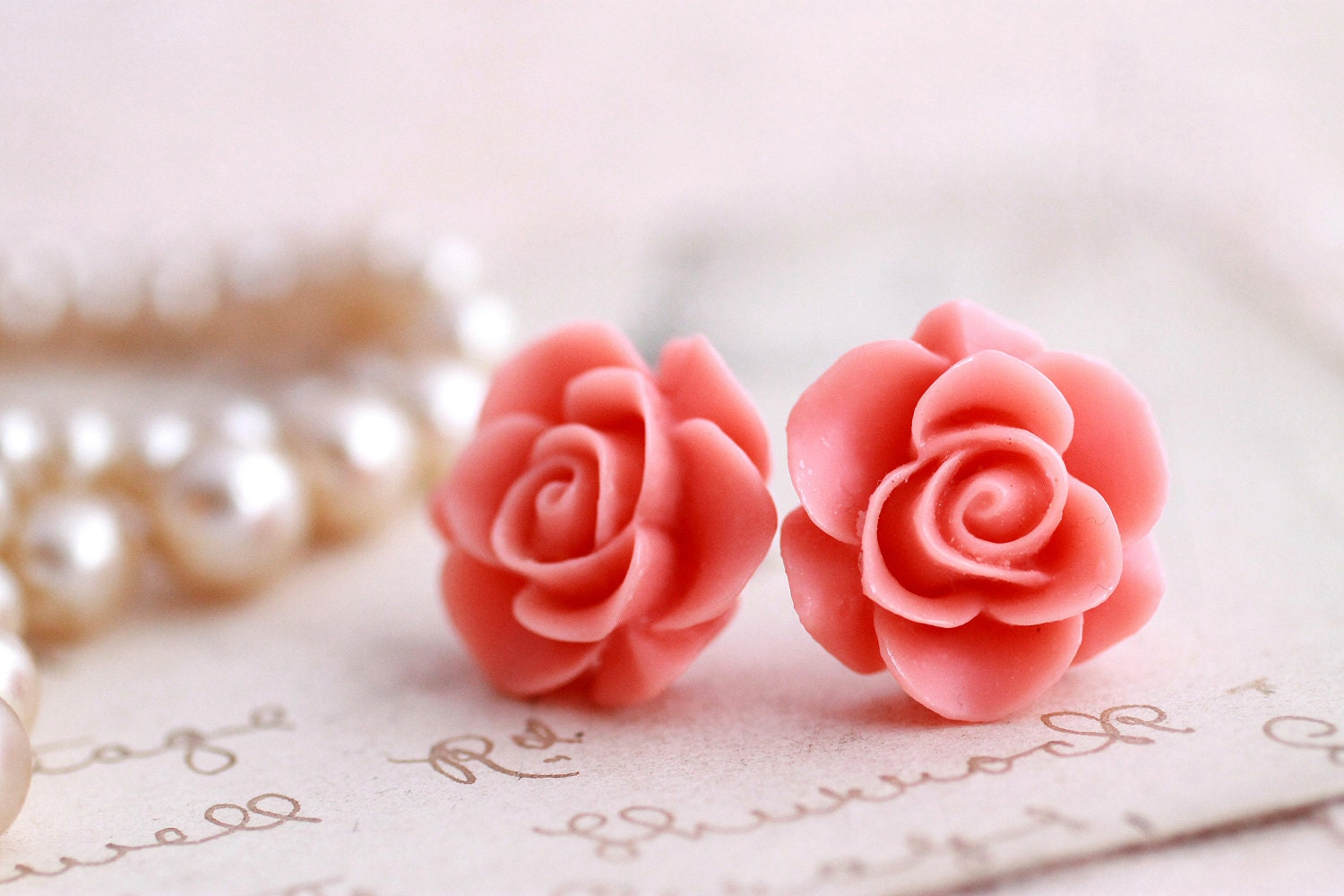 Pink Rose earrings, rose stud earrings, flower earrings, pink earrings, rose jewelry,