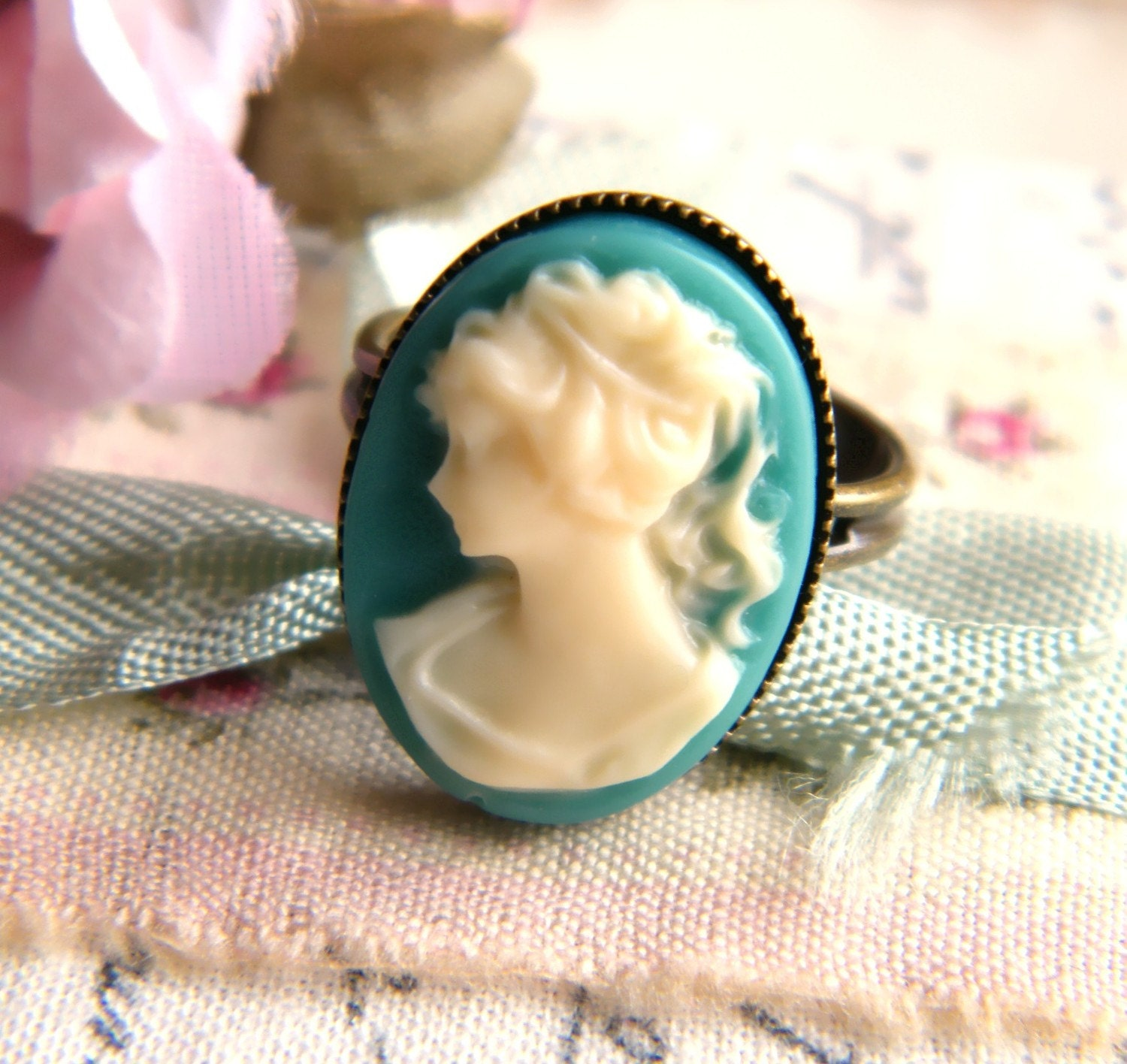 Teal Cameo Ring
