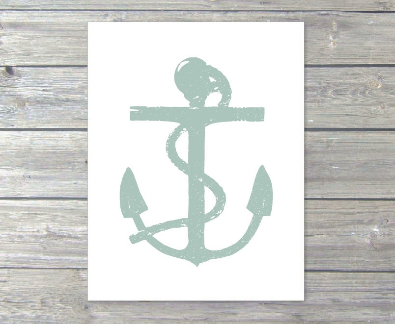 Anchor - Wall Art Print - Nautical - Home Decor - Pastel Seafoam Sage Green - Rustic - AldariArt