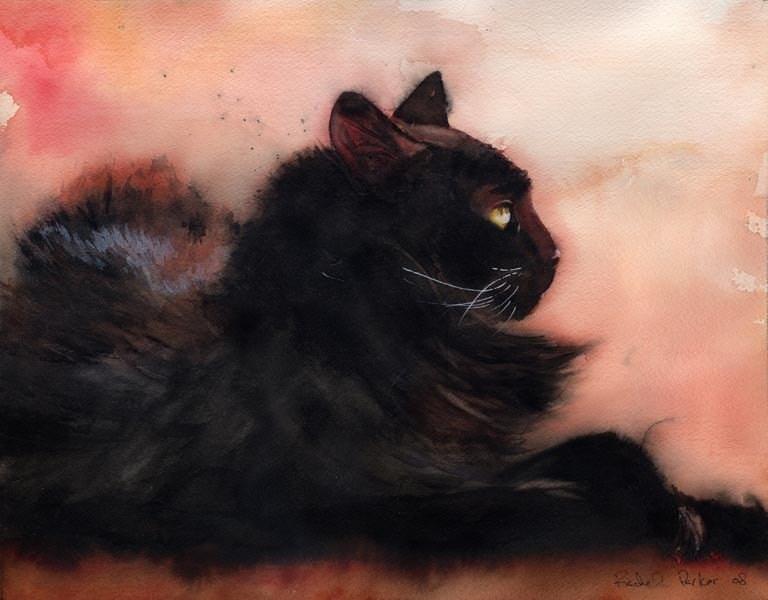 Black Cat art Print of my Original Watercolor .Sadie Sunbathing. - rachelsstudio