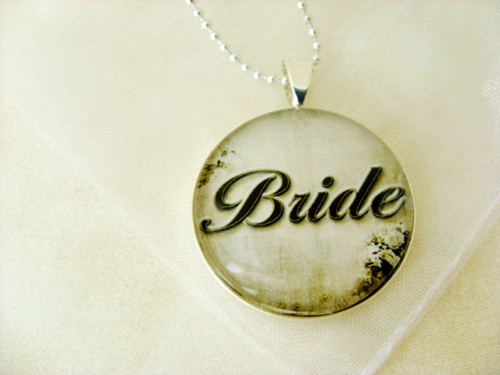 Personalized Wedding - Glass Pendant Necklace - Silver