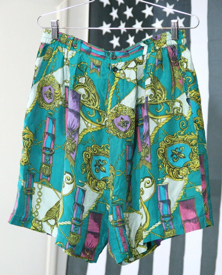 Teal Silk Scarf Print Flowy 80s/90s Patterned High-Waisted Shorts