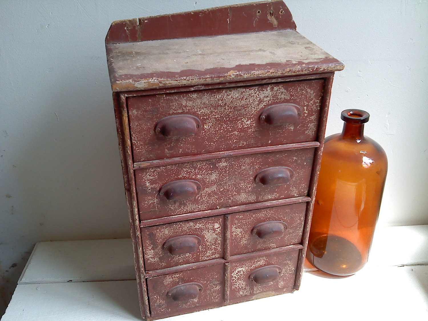 Primtive Apothecary Style Drawer Cabinet- Nice old Shabby Barn Red Paint - TrueNorthInteriorDes