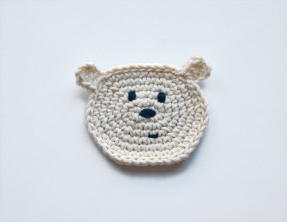 PDF Crochet Pattern - Polar Bear Applique - Text instructions and SYMBOL CHART instructions - Permission to Sell Finished Items