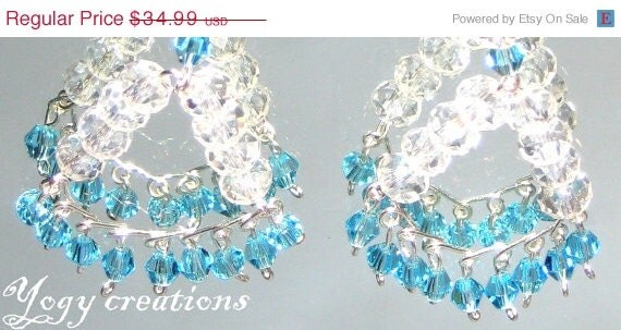 SALE 10% Off White light blue crystal bead chandelier dangle vintage earrings silver jewelry gift