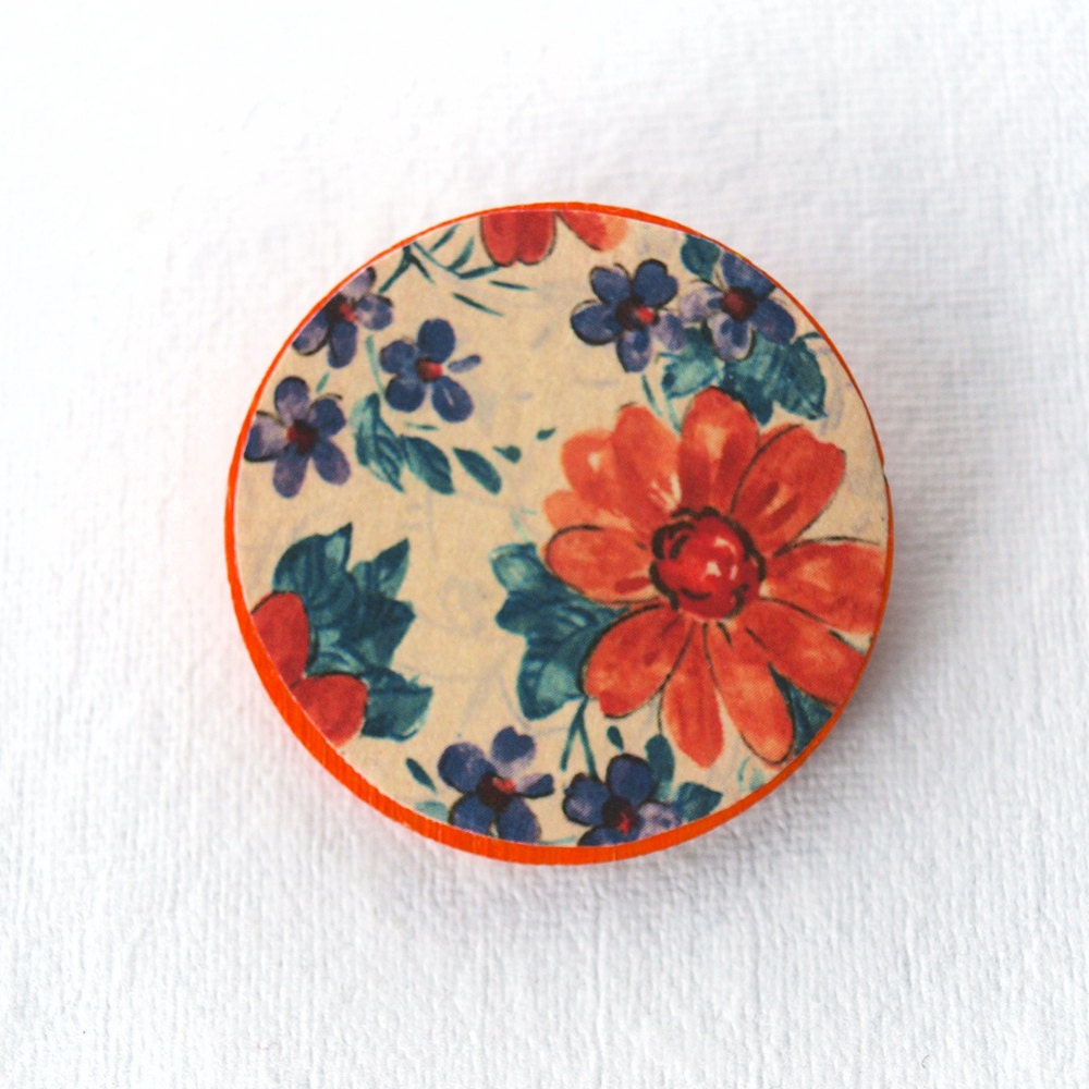Floral Brooch - Orange and Purple - Orange Blossom Jewelry - Orange and Teal - dreambeadsuk