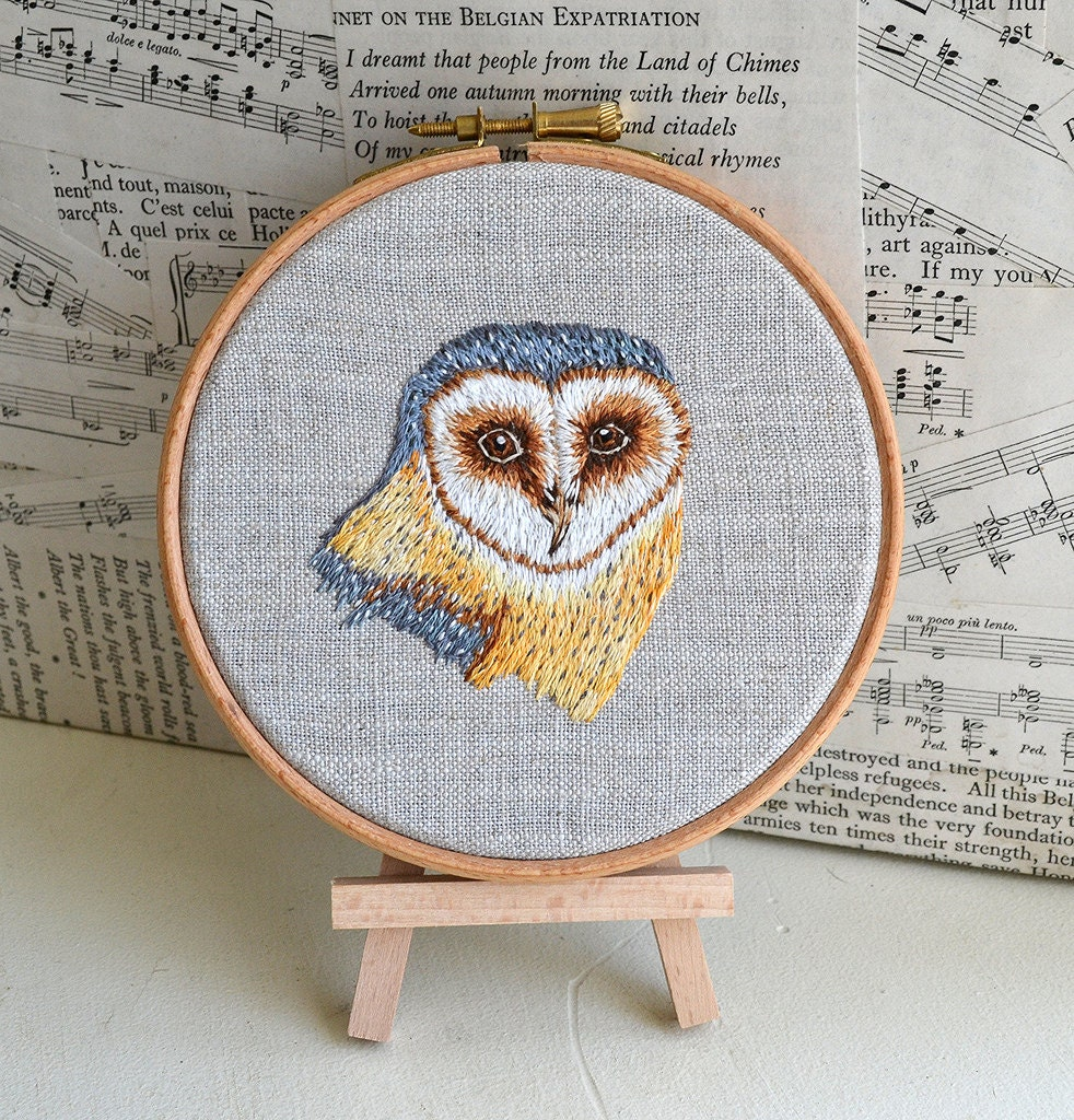 Hand Embroidered Barn Owl Wall Hanging