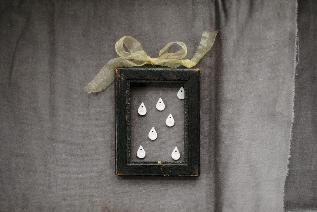 raindrop teardrop porcelain pendant tiny white - bricolagelife