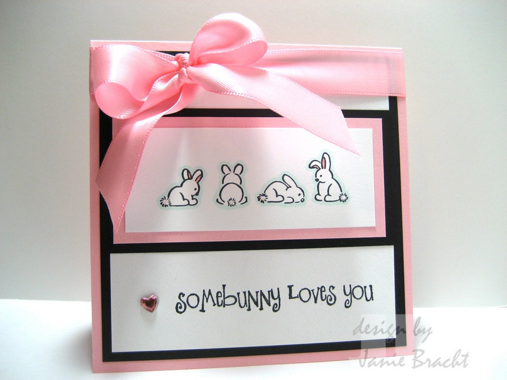 Etsygreetings handmade cards adorable bunnies some bunny loves adorable bunnies some bunny loves you hand stamped greeting card m4hsunfo