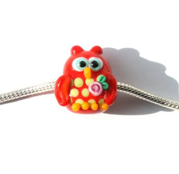 Glass lampwork red owl bead fit pandora, troll, biagi bracelet - Myhappyhobby