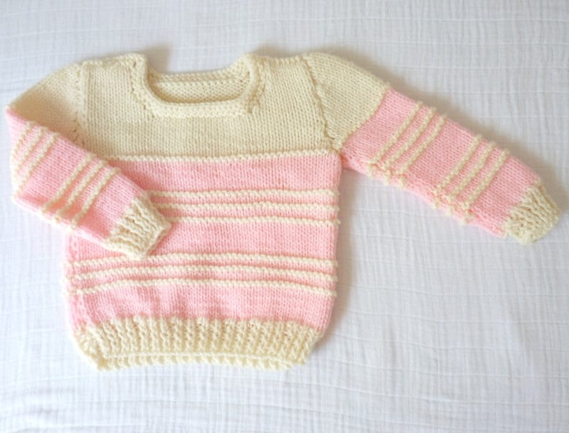 Vintage baby sweater, 18 months. Handmade. Pink and cream wool. - LazerBabyVintage