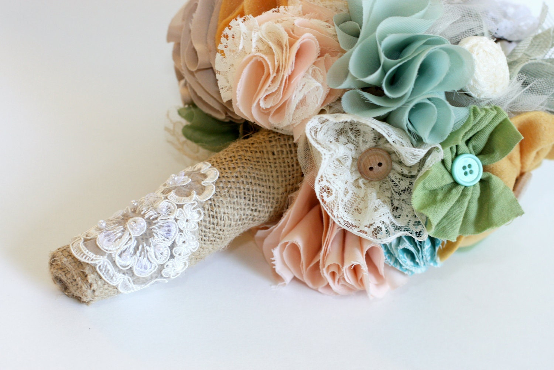 Bouquet-Shabby Chic-nupcial personalizado bela assorted flores de tecido rústico com estopa
