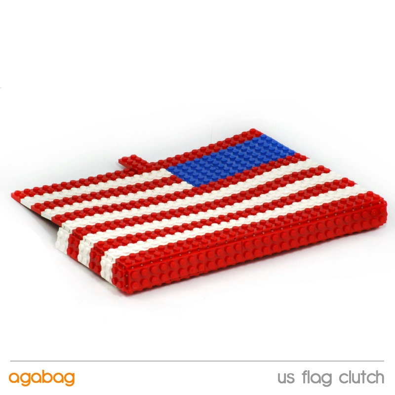 US flag clutch made entirely of LEGO bricks