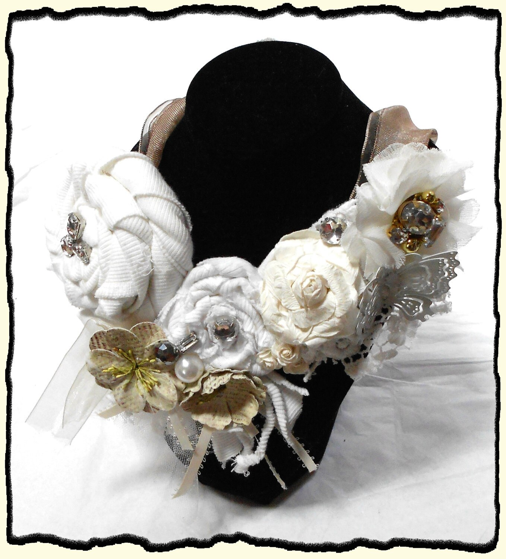 Романтический белый и Ecru Люкс заявление ожерелье Свадебное ожерелье Биб Страна шикарный потертый шик люблю романтические невесты ювелирные изделия