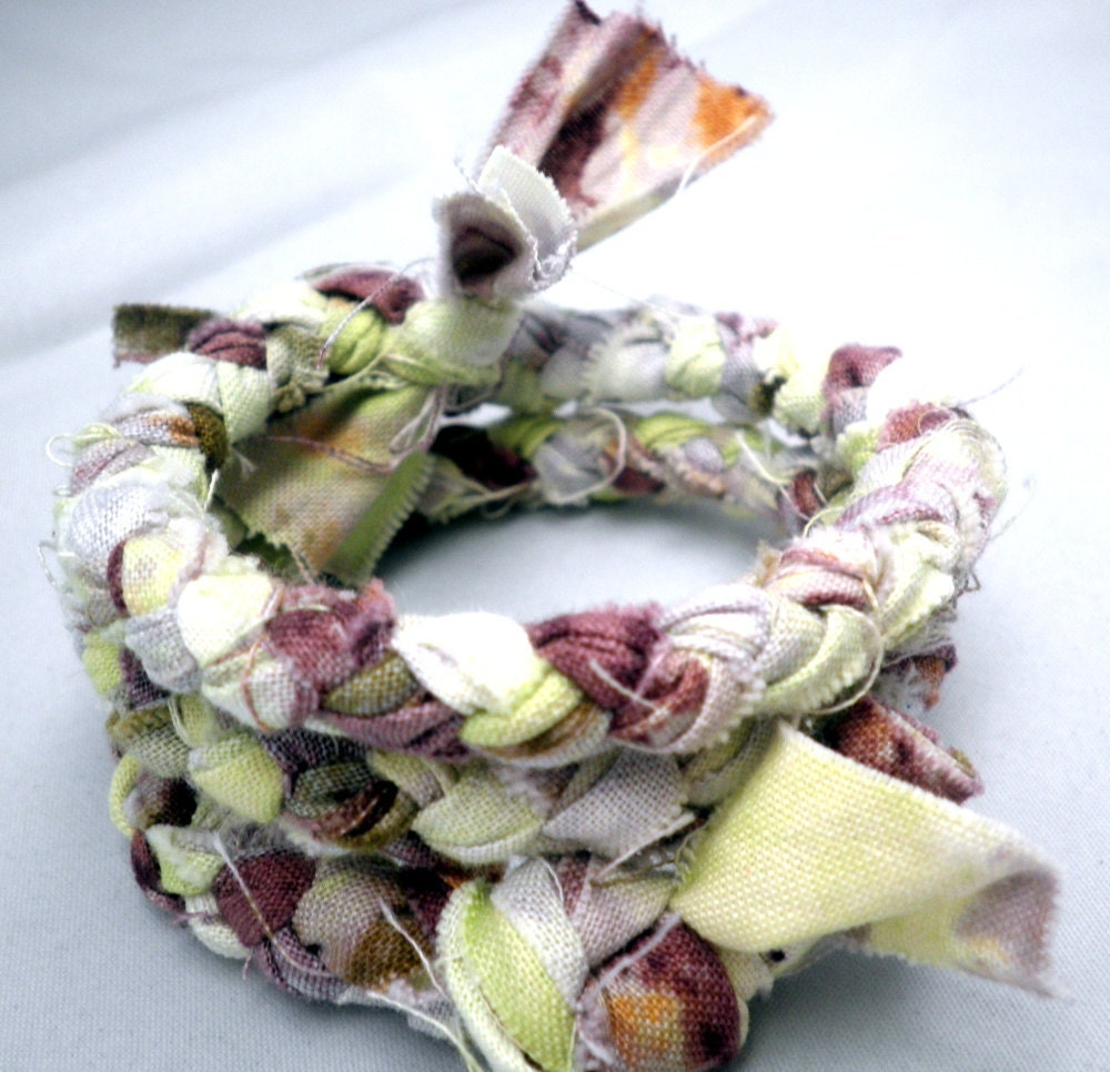 Memory Bracelet - Braided Fabric in lemon lime, white and purples - PersimonDreams