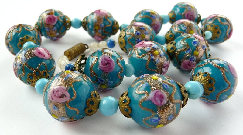 Venetian Wedding Cake Bead Necklace - Turquoise