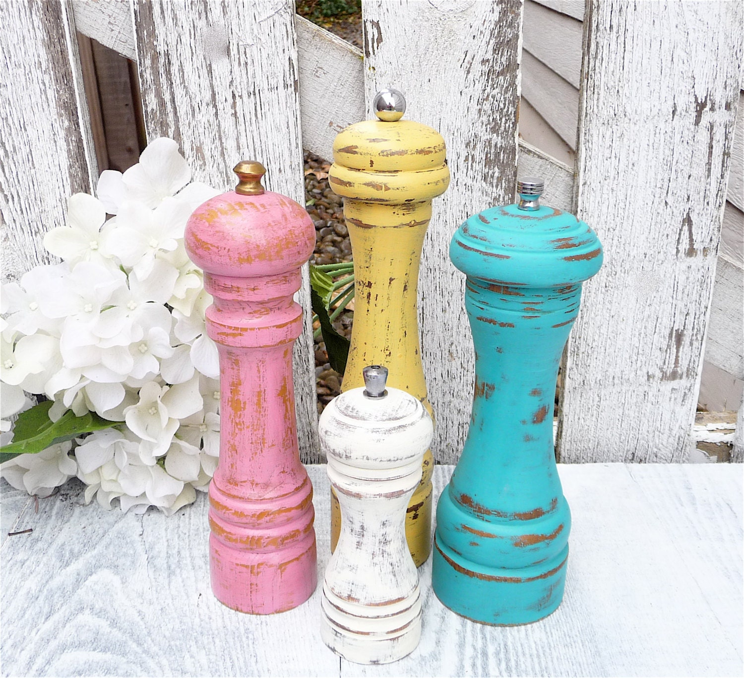 Shabby Chic Pepper Mill / Pepper Grinder CUSTOM, your choice of size and color