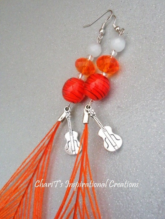 Orange Peacock Feather Guitar Earrings