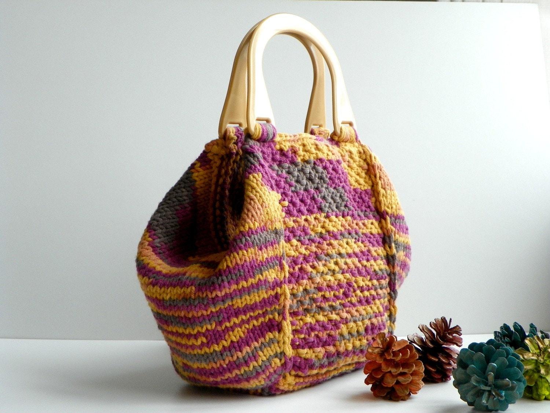 NzLbags новые - прекрасно оттеняет Вязание сумка сумка, сумка и плечо - Желтый цвет - фуксия - Темно-серый Nr-0130