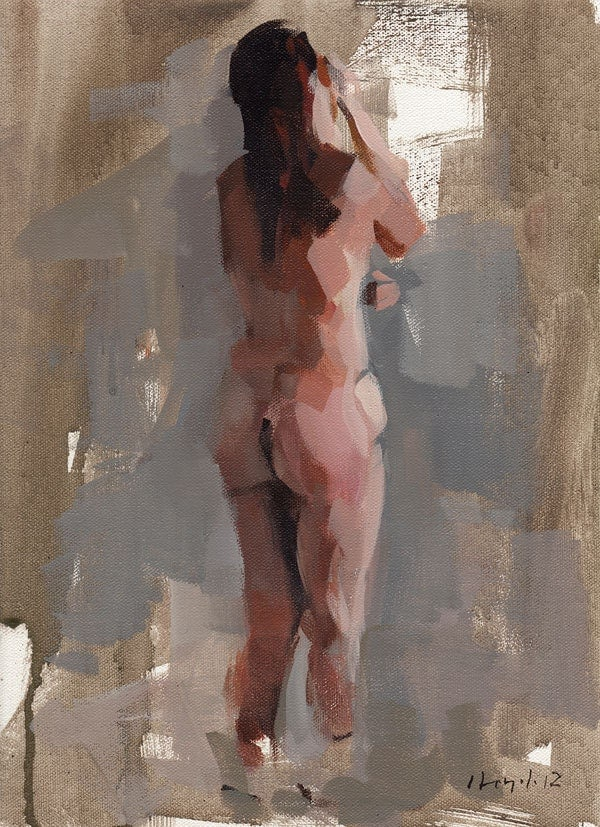 Art Print Figure Woman Classical Nude 9x12 on 11x14 - Figure Study 1 by David Lloyd - lloydgallery