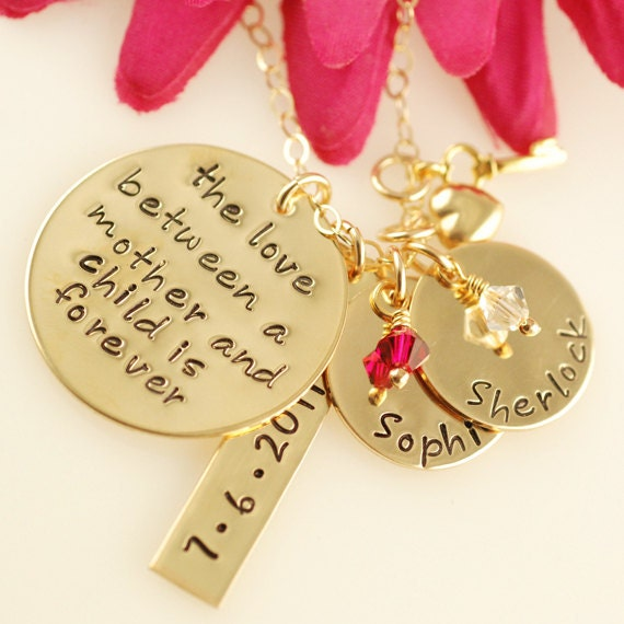 Love Between a Mother and Child with Tag - Hand Stamped Necklace - Personalized ( NOW IN GOLD)
