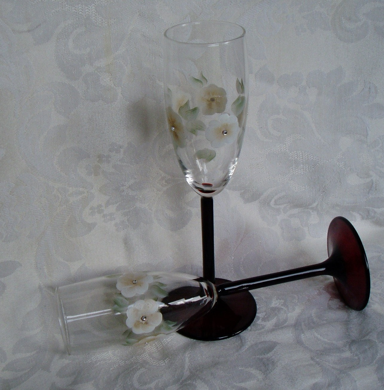 Champagne glasses - Chocolate Stems/Cream & Coffee flowers