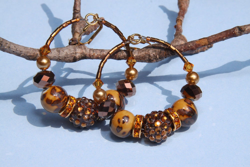 "2"" 1/4 L Brown and Amber color hoops Porcelain, Bling ball"