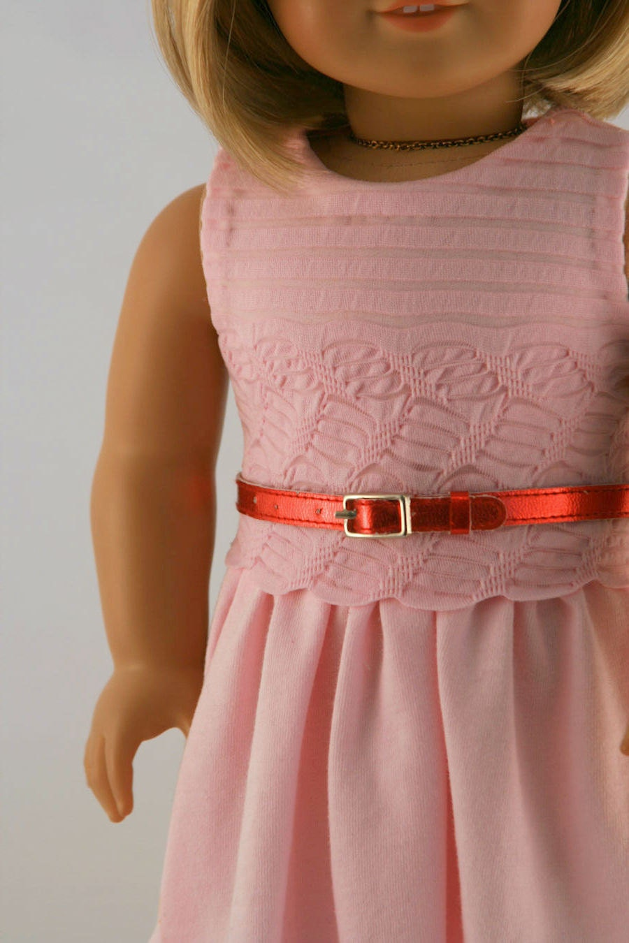 American Girl Doll Clothes - Pink Knit Dress with Red Metallic Belt