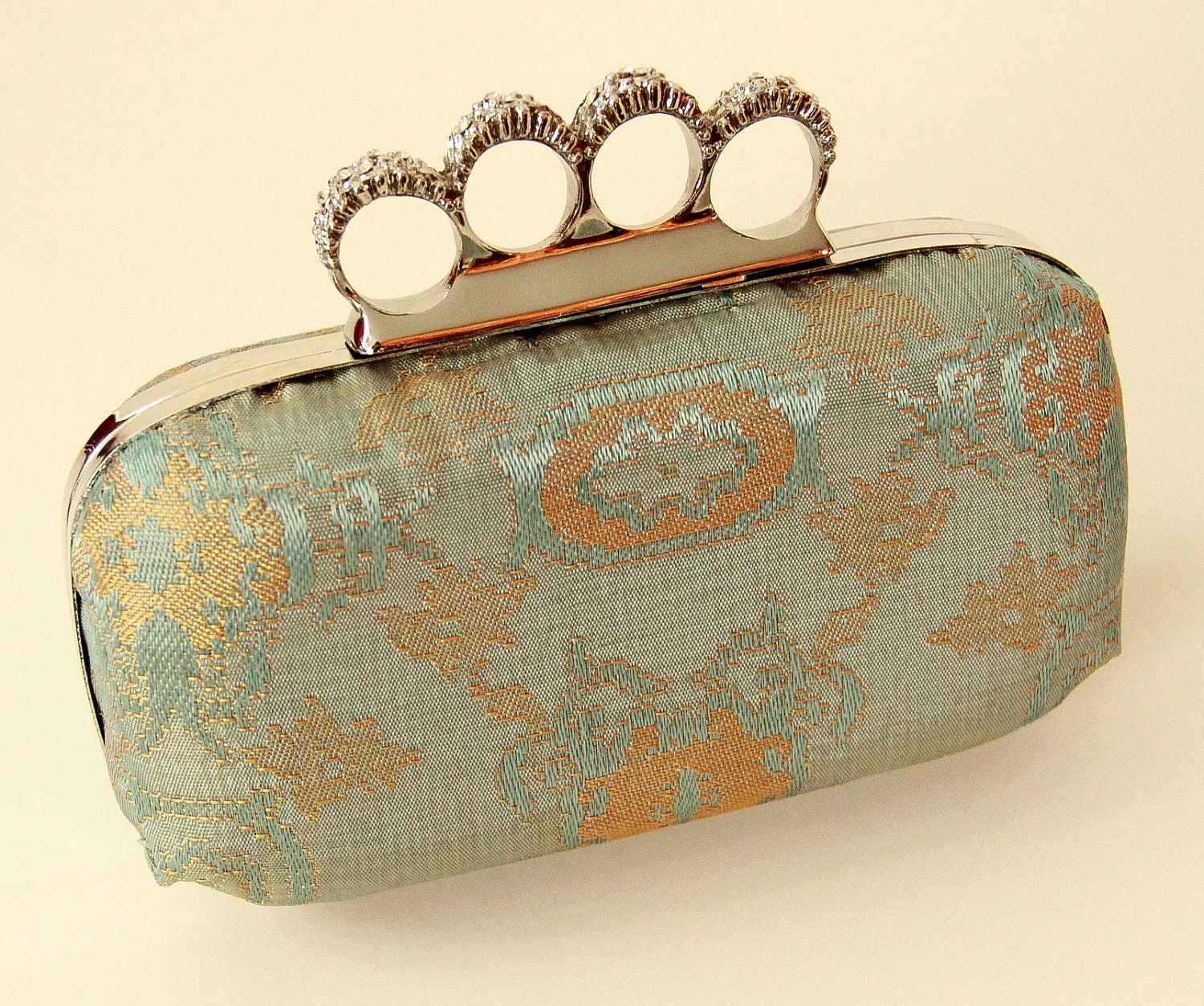 Vintage Aqua Brocade Fabric 4-Finger Clamshell Clutch Audiere