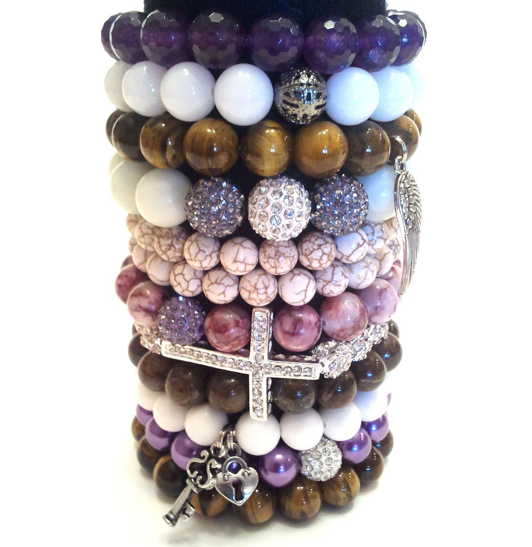 Purple Royality Ultimate Beaded Bracelets Collection of 12 Stretch Beaded Bracelets