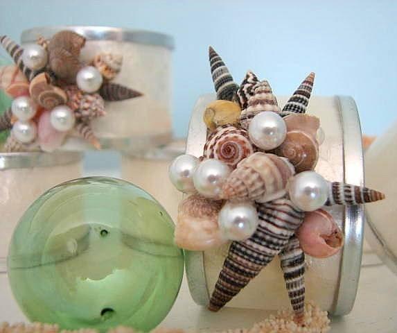 Пляж Декор Shell кольца для салфеток - Кольца Seashell салфетки, Набор из 6 Capiz
