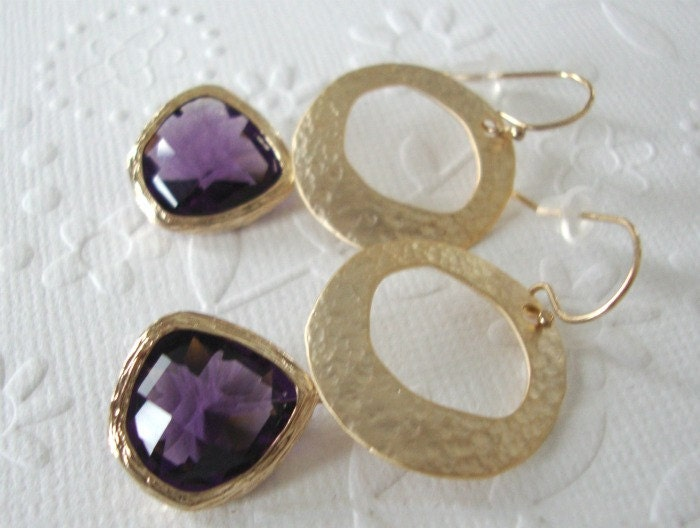 Sustainable fashion with amethyst glass Purple earrings Bridal or