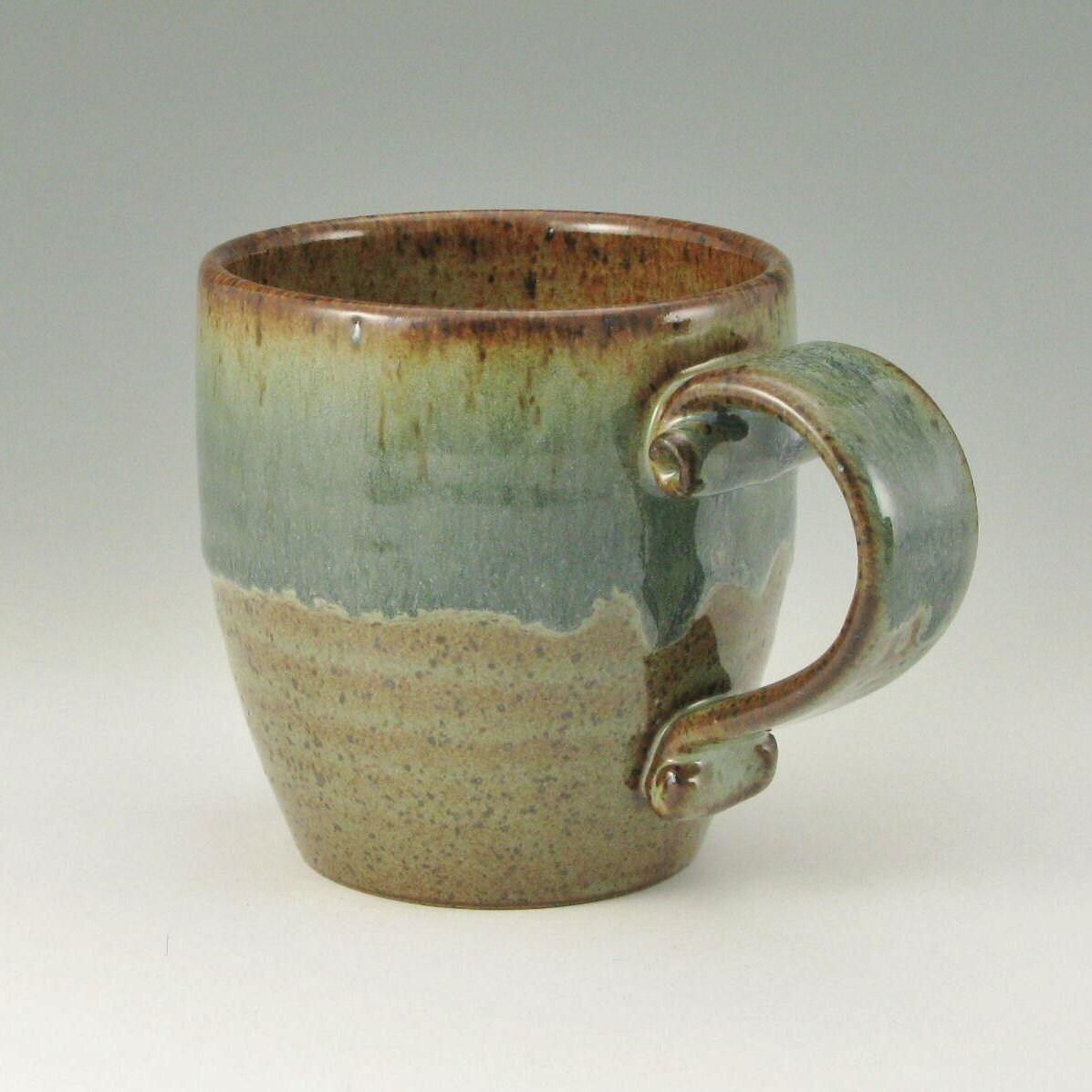 SALE - Holiday Finale Coffee Mug, Beer Mug, Tea Cup, One Bistro16 Mug, Green Iced Honey Brown and Sage Green, Ready To Ship