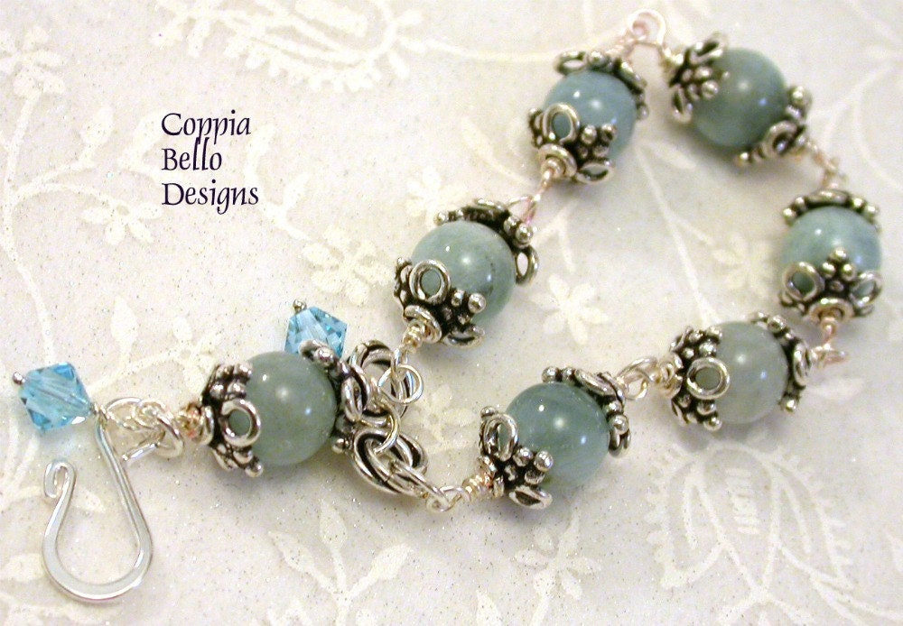 Aquamarine Wire Wrapped Bracelet