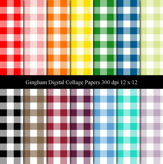 Gingham Digital Collage Sheets 12 x 12 set with 14 Digital Papers
