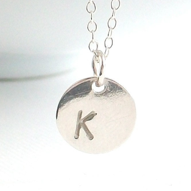 Side Stamped Initial Disc Charm . sterling silver . custom hand stamped . handmade jewelry by MoshPoshDesigns