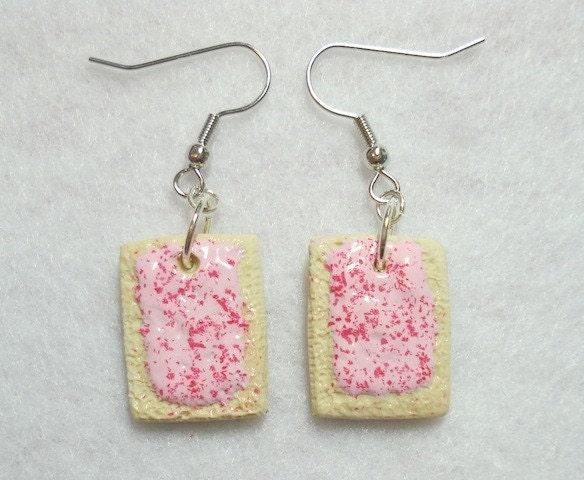 Cherry Pop tart Earrings  Miniature Food Jewelry