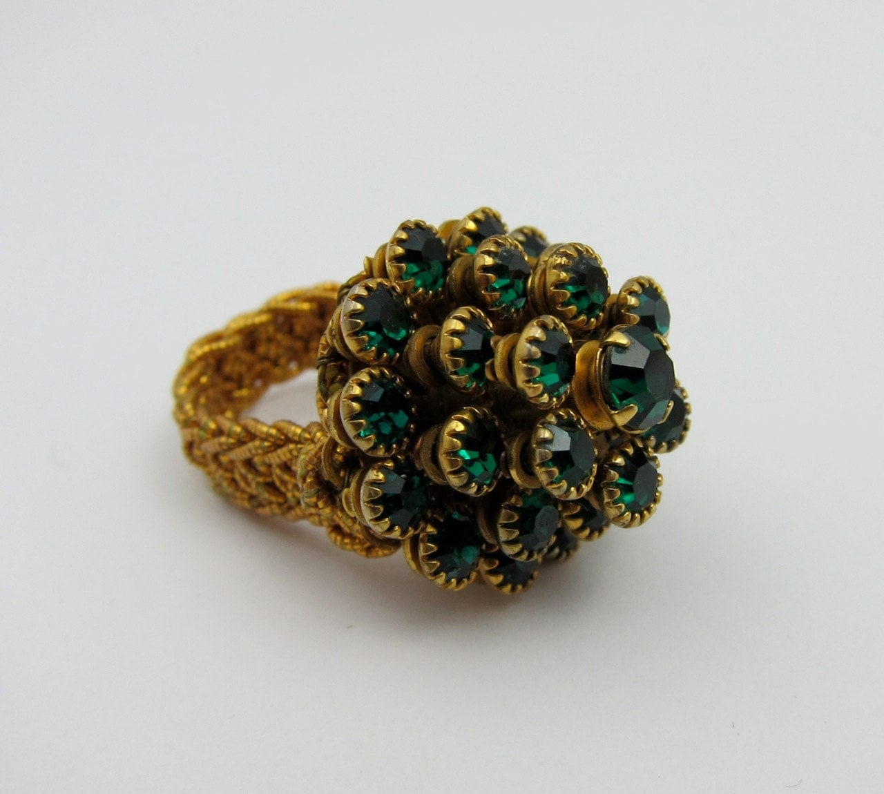 Vintage Cocktail Ring Green Rhinestones - Violasvintages
