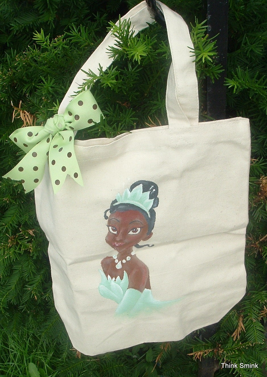 Frog Princess Canvas Tote- Hand Painted with coordinating Ribbon Bow