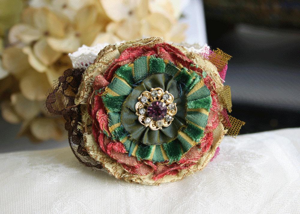 Fabric Floral Cuff Bracelet Wrist Corsage Eggplant Purple, Amethyst, Colorful Autumn