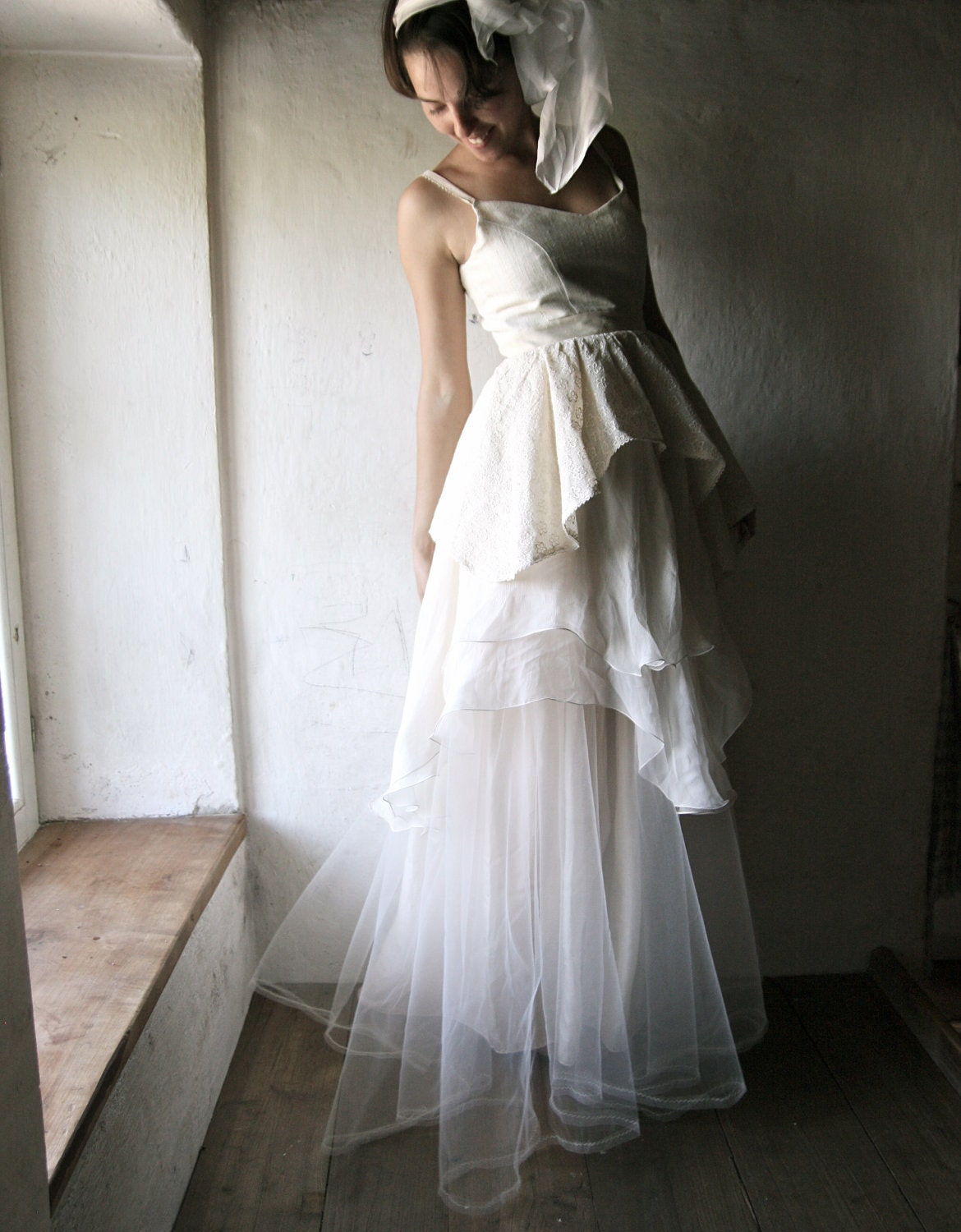 Wedding Dress - Bridal Gown ivory silk chiffon floor length couture handmade gown one of a kind - larimeloom