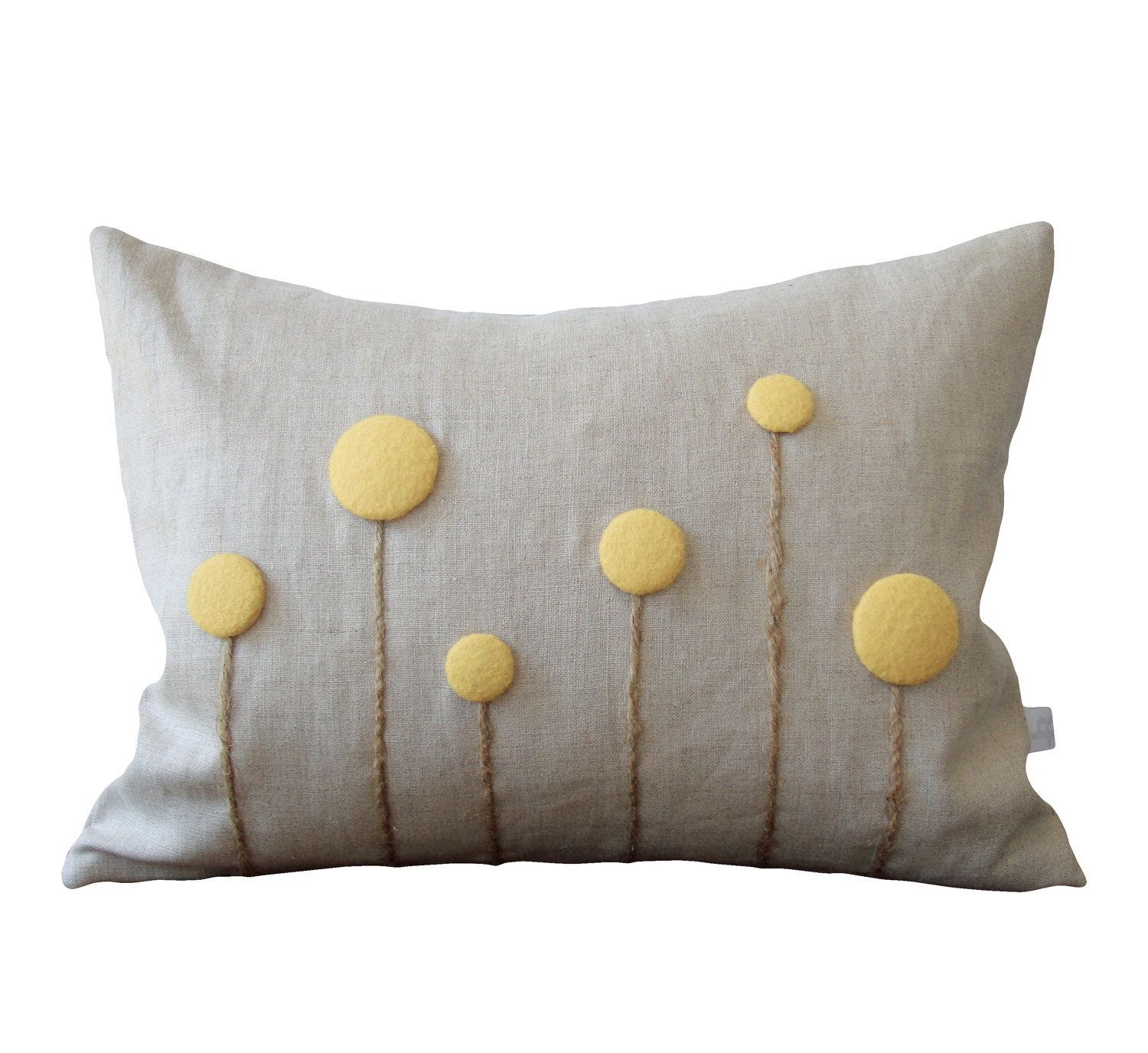 Pale Yellow Billy Ball Flower Pillow in Natural Linen by JillianReneDecor Craspedia Billy Button Botanical Home Decor Pastel - JillianReneDecor